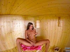 Sauna pussy masturbation session VR porn