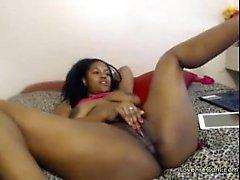 Black babe goes hard on cam