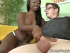 Innocent small boob ebony babes first hj