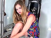 Petite Blonde Linden Looks Beautiful in a Floral Dress