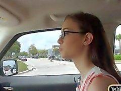 Stranded teen nerd Tali Dava banged in the backseat