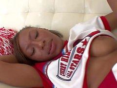 Ebony cheerleader gets fucked and creamed by older stud