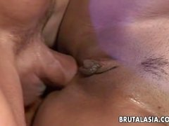Sizzling hot brunette has an ass fuck with her man
