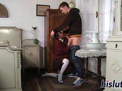Horny stallion fucks a sexy schoolgirl