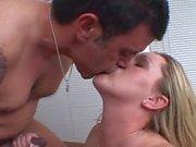 Cock sucking white slut gives Cuban man a rimjob and gets a big jizz load