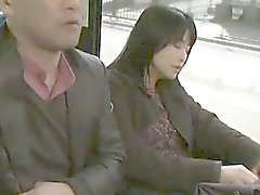 Amateur Japanese gives handjob in bus