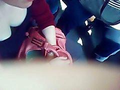 cute teen deep downblouse in Paris subway