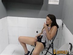 Gloryhole teen guzzles