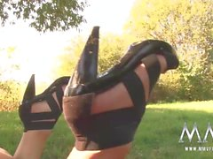 MMV FILMS Slamming German Teen pussy in public park