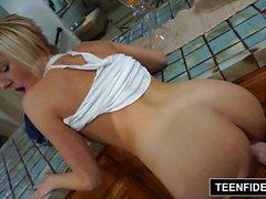 TEENFIDELITY - Kate England Plays Strip Poker w not Stepdad