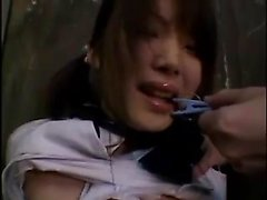 Submissive Oriental teen with pigtails is made to enjoy str