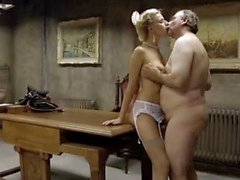 Slim&Busty blonde girl fucks an old man