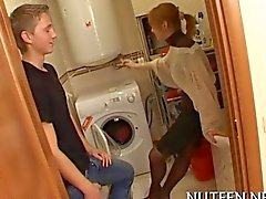Red haired babe using her hands
