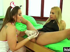 Stiff cock makes two babes happy