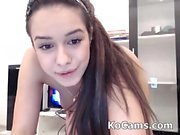 Cute brunette making show at webcam