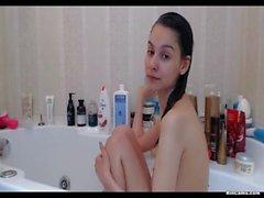 Skinny girl take a shower