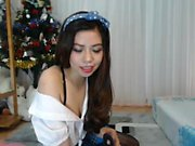 Amateur asian teen in colorful stockings