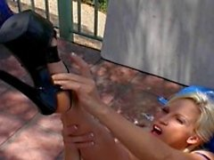 Nice boobs blonde rubs lovely toes and fucks herself by dildo outdoors