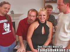 Thick tamp blonde has her first bukkake party