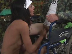 Amazing nurse takes care of a handicap
