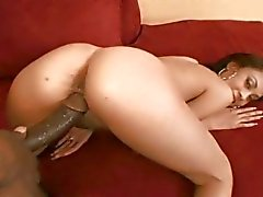 Teenage slut Angel Marie gets her hairy cunt nailed with massive black rod