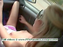 Suzanna angelic blonde teenage fingering pussy in a car
