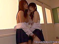 Japanese schoolgirl lesbian make out session