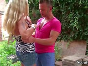 German MILF Whore fucks with client and girlfriend