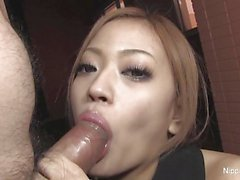 Asian amateur stuffs her mouth with cock
