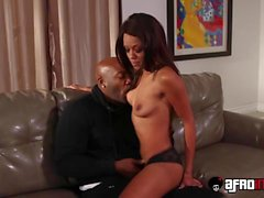 Hot ebony nanny Verta does some extra work for her boss