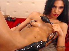 Brunette Teen plays withs huge Dildos on Webcam