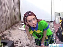 Shaved and amateur Kiley Jay sells cookie to Jmac and gets f