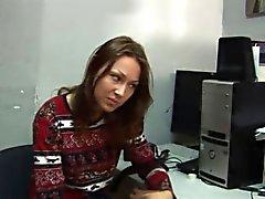 Teen model shows her ass