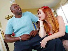 Teen redhead Dani Jensen loves it black