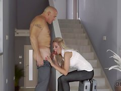 OLD4K. Bald daddy actively drills big-boobied mistress near stairs