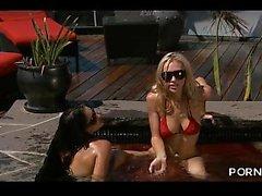 PORN2SdotCOM - two bikini girls fuck in pool part 1 2017