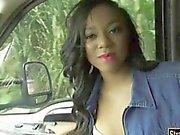 Sexy black girl Diamond Monroe pounded hard in public