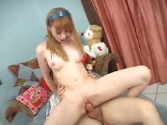 Amazing sex with a young shaved redhead