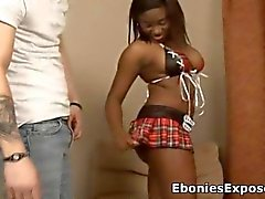 Hot black teen drilled from behind by a white cock