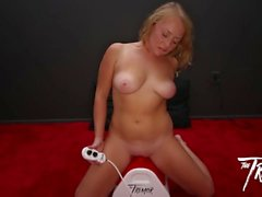 Blonde Babe Charlie goes Cowgirl on her First Tremor Ride