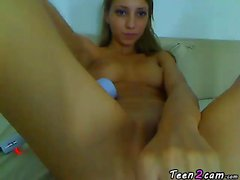 Hot blonde teen playing with her fingers