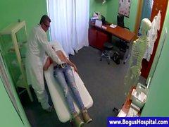 Sham doctor fingering blonde patient