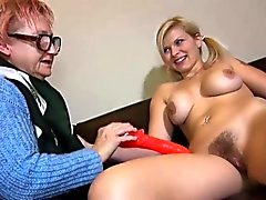 Granny mature masturbate with orange dildo compilation