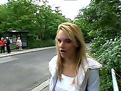 Beautiful cutie lured to have public sex