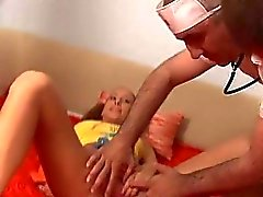 Young darling is pleasuring 2 wild and rough cocks