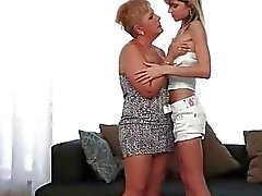 Granny and innocent teen making love