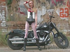 Hot babe in stockings loves her new bike