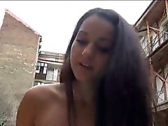Eurobabe Lili Devil flashes tits and pounded for money