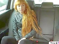 Cute redhead babe screwed by her taxi driver
