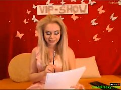 Fashionable long haired teen is appearing bra less on cam